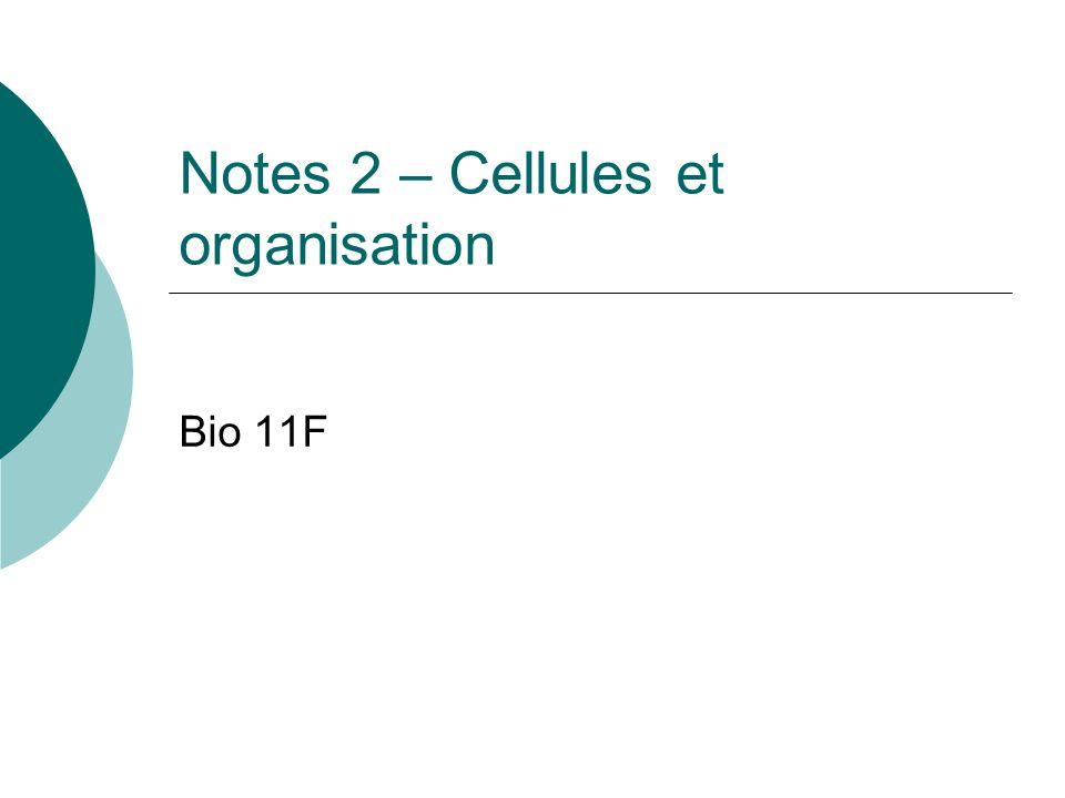 Notes 2 – Cellules et organisation Bio 11F