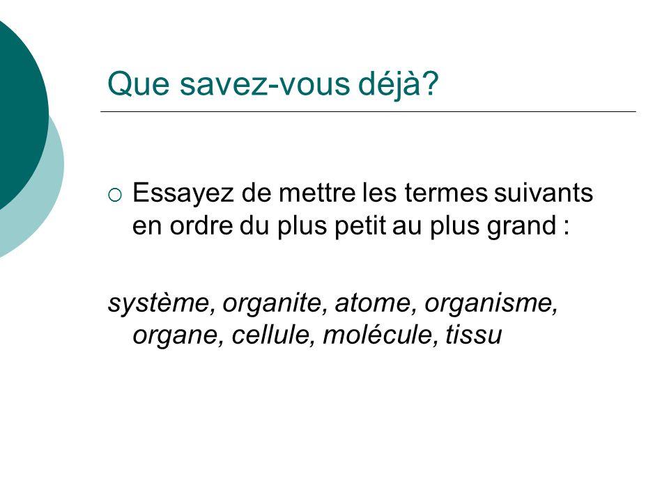 Que savez-vous déjà? Essayez de mettre les termes suivants en ordre du plus petit au plus grand : système, organite, atome, organisme, organe, cellule