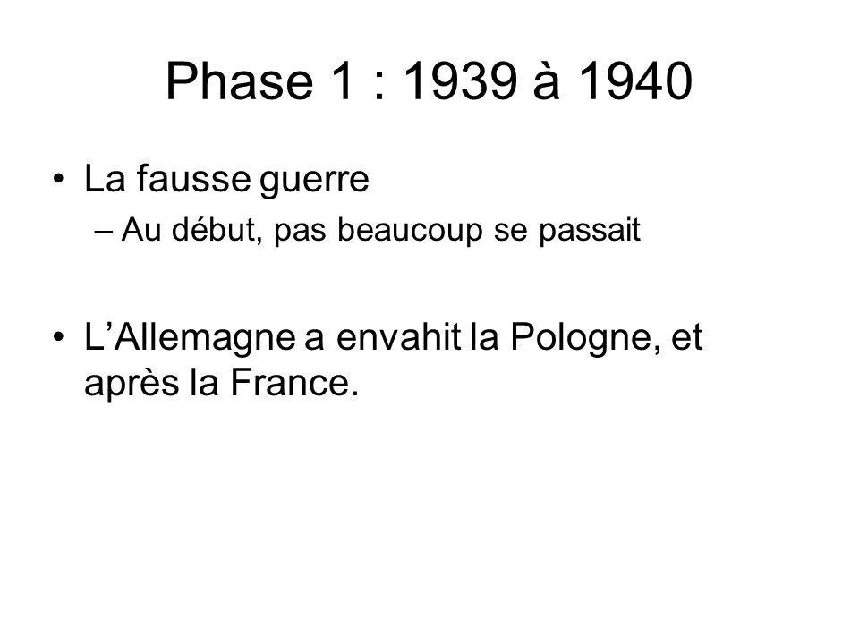 Phase 1 : 1939 à 1940 La fausse guerre –Au début, pas beaucoup se passait LAllemagne a envahit la Pologne, et après la France.