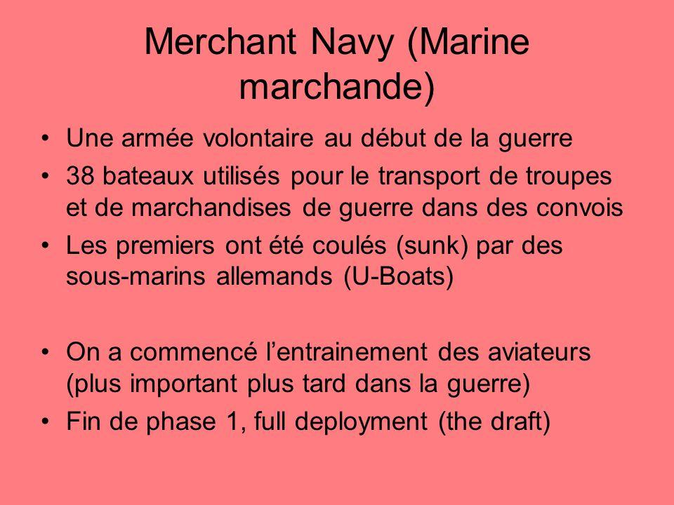 Merchant Navy (Marine marchande) Une armée volontaire au début de la guerre 38 bateaux utilisés pour le transport de troupes et de marchandises de guerre dans des convois Les premiers ont été coulés (sunk) par des sous-marins allemands (U-Boats) On a commencé lentrainement des aviateurs (plus important plus tard dans la guerre) Fin de phase 1, full deployment (the draft)
