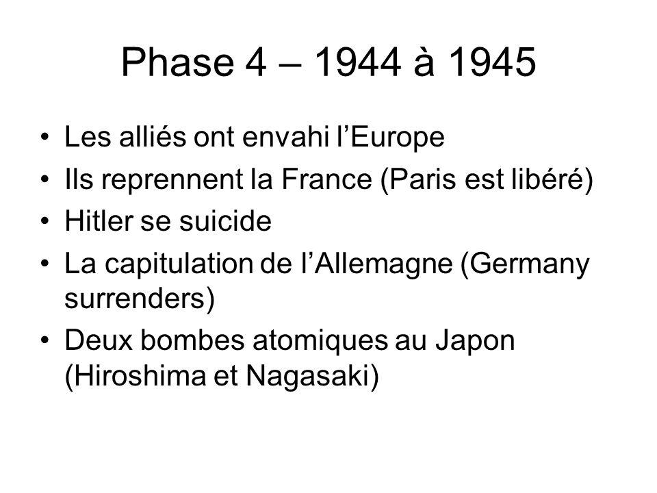 Phase 4 – 1944 à 1945 Les alliés ont envahi lEurope Ils reprennent la France (Paris est libéré) Hitler se suicide La capitulation de lAllemagne (Germany surrenders) Deux bombes atomiques au Japon (Hiroshima et Nagasaki)