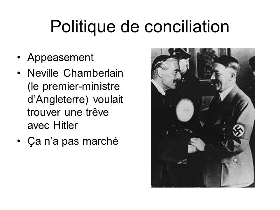 Politique de conciliation Appeasement Neville Chamberlain (le premier-ministre dAngleterre) voulait trouver une trêve avec Hitler Ça na pas marché