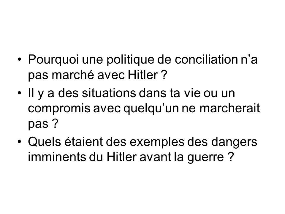 Pourquoi une politique de conciliation na pas marché avec Hitler .