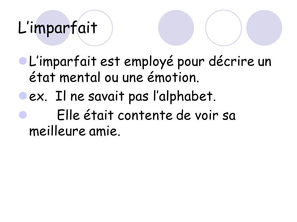 Limparfait Limparfait est employé pour décrire un état mental ou une émotion. ex. Il ne savait pas lalphabet. Elle était contente de voir sa meilleure