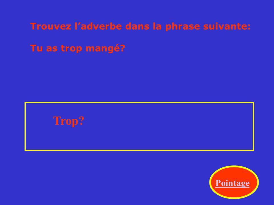 Trouvez ladverbe dans la phrase suivante: Jaime beaucoup les films français. Beaucoup? Pointage