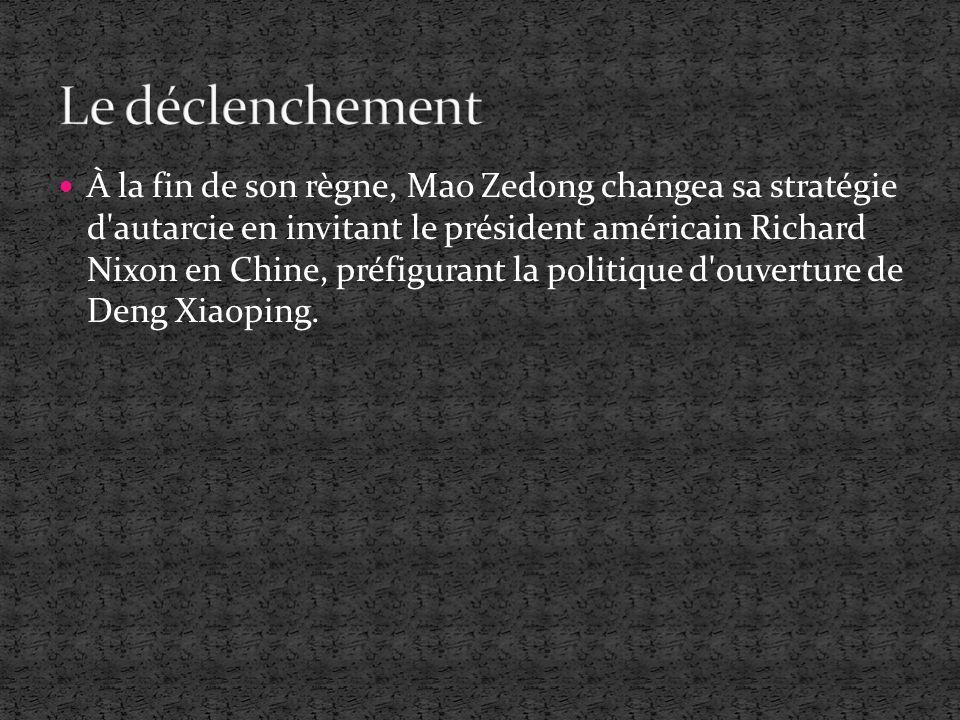 À la fin de son règne, Mao Zedong changea sa stratégie d'autarcie en invitant le président américain Richard Nixon en Chine, préfigurant la politique