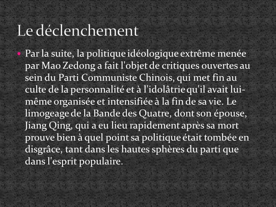 Par la suite, la politique idéologique extrême menée par Mao Zedong a fait l'objet de critiques ouvertes au sein du Parti Communiste Chinois, qui met