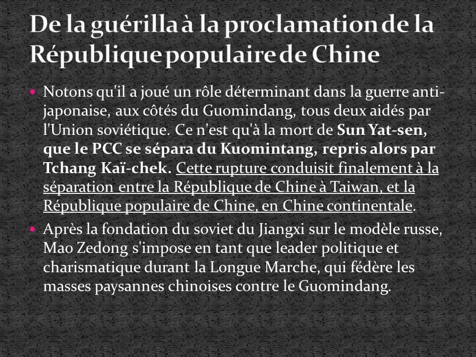 Le 1er octobre 1949, Mao Zedong déclare la création de la République populaire de Chine sur la place Tiananmen, le Guomindang s étant exilé a Taiwan.