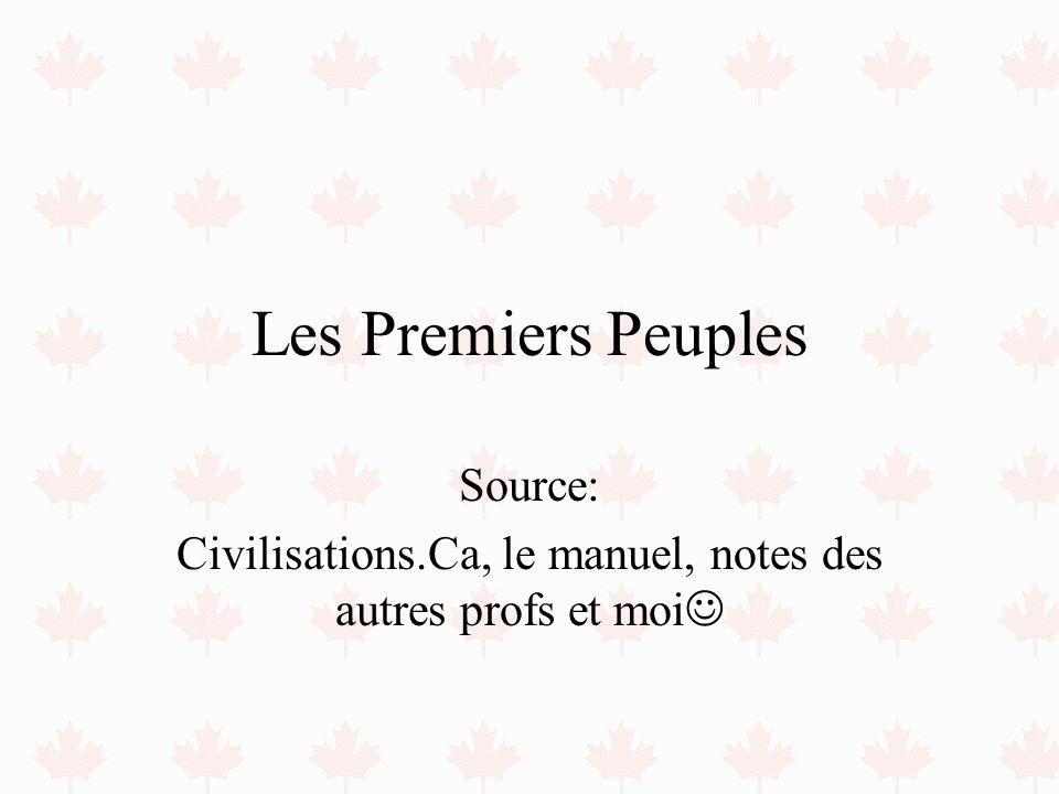Les Premiers Peuples Source: Civilisations.Ca, le manuel, notes des autres profs et moi