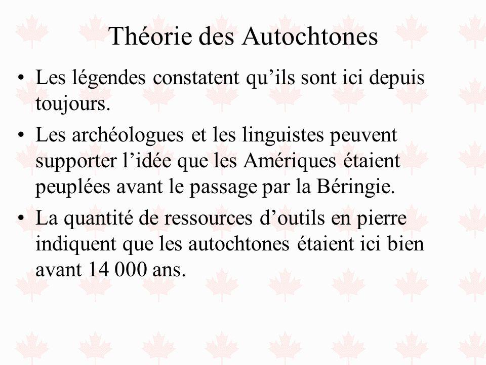 Théorie des Autochtones Les légendes constatent quils sont ici depuis toujours. Les archéologues et les linguistes peuvent supporter lidée que les Amé