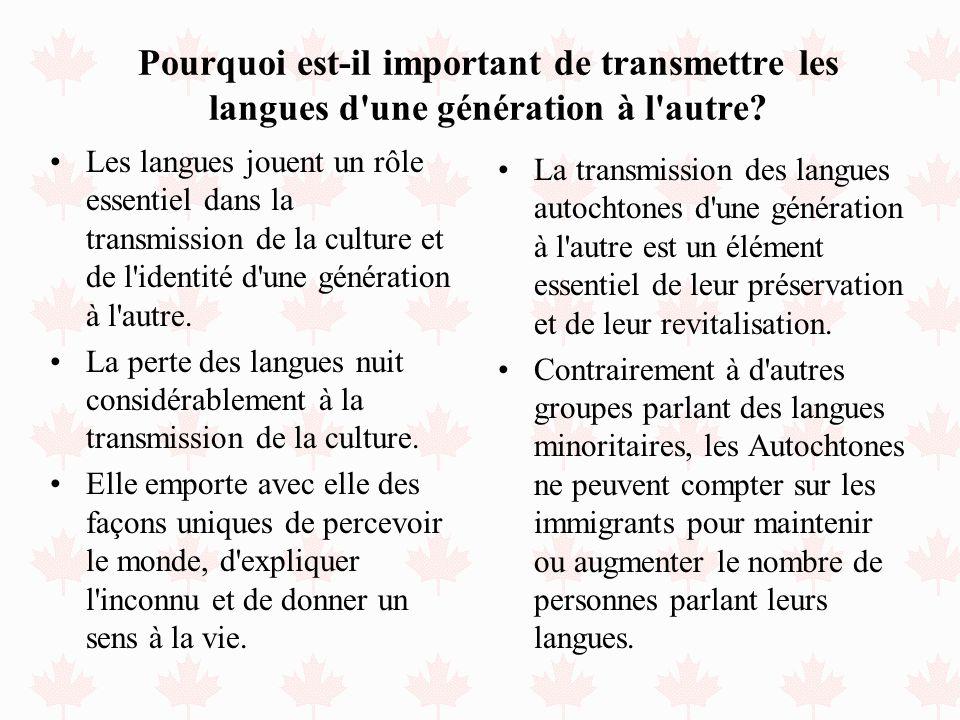 Pourquoi est-il important de transmettre les langues d'une génération à l'autre? Les langues jouent un rôle essentiel dans la transmission de la cultu