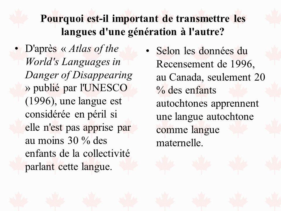 Pourquoi est-il important de transmettre les langues d'une génération à l'autre? D'après « Atlas of the World's Languages in Danger of Disappearing »