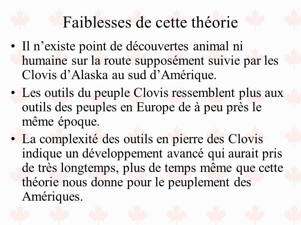 Faiblesses de cette théorie Il nexiste point de découvertes animal ni humaine sur la route supposément suivie par les Clovis dAlaska au sud dAmérique.