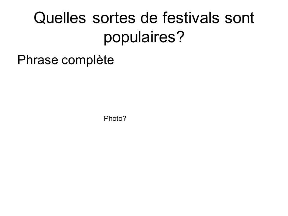 Quelles sortes de festivals sont populaires? Phrase complète Photo?