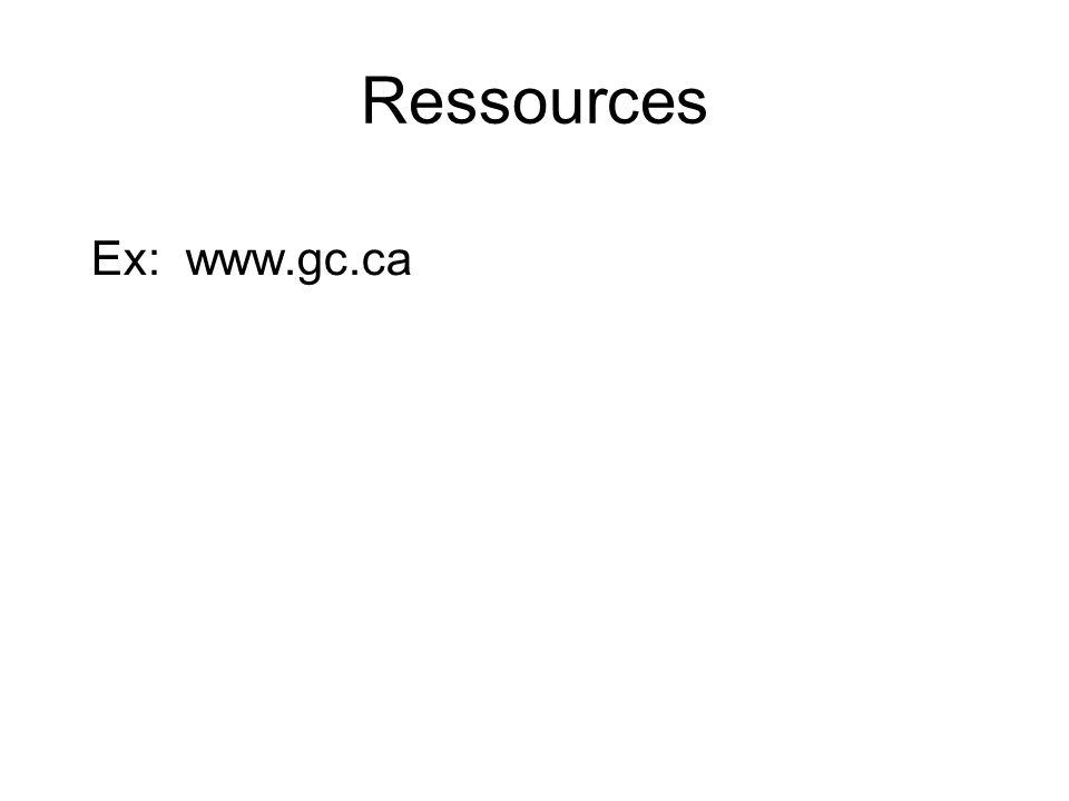 Ressources Ex: www.gc.ca