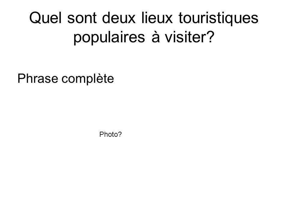 Quel sont deux lieux touristiques populaires à visiter? Phrase complète Photo?