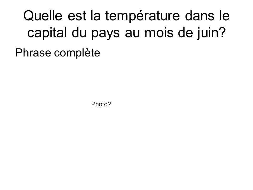 Quelle est la température dans le capital du pays au mois de juin? Phrase complète Photo?