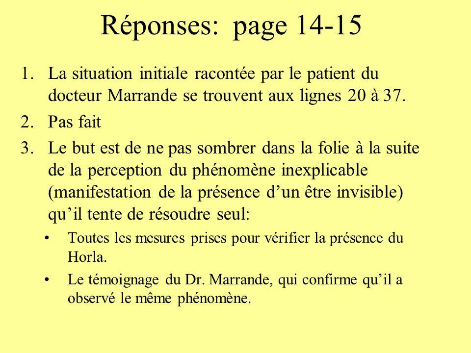 Réponses: page 14-15 1.La situation initiale racontée par le patient du docteur Marrande se trouvent aux lignes 20 à 37. 2.Pas fait 3.Le but est de ne