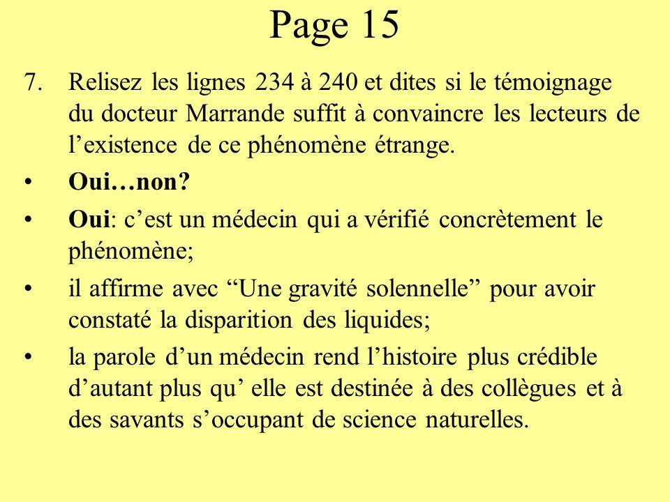 Page 15 7.Relisez les lignes 234 à 240 et dites si le témoignage du docteur Marrande suffit à convaincre les lecteurs de lexistence de ce phénomène ét
