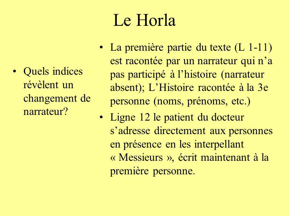 Le Horla Quels indices révèlent un changement de narrateur? La première partie du texte (L 1-11) est racontée par un narrateur qui na pas participé à
