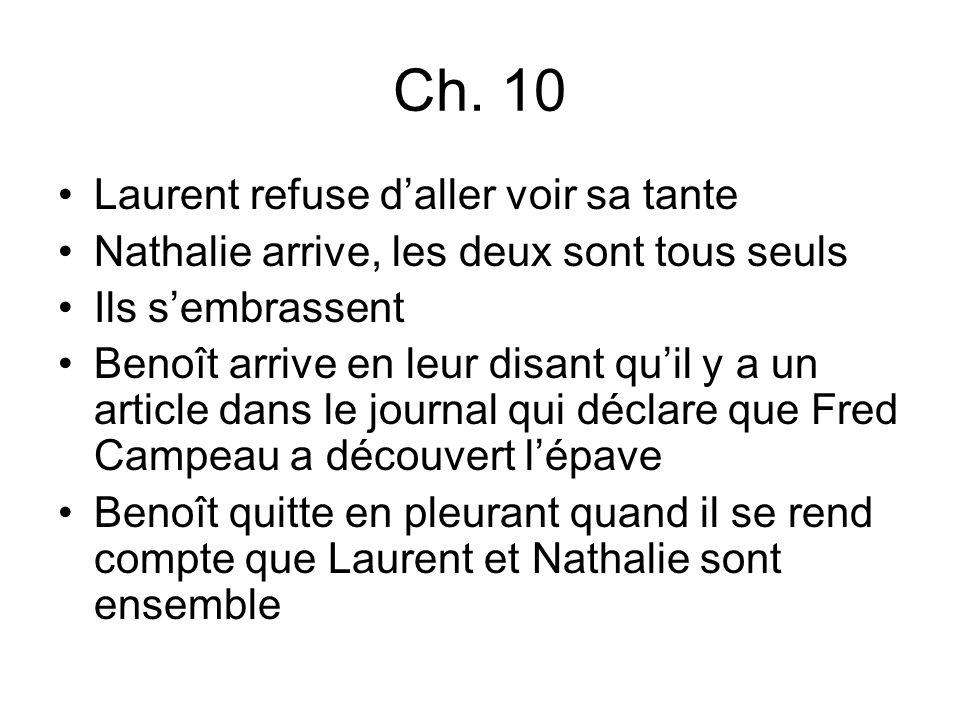 Ch. 10 Laurent refuse daller voir sa tante Nathalie arrive, les deux sont tous seuls Ils sembrassent Benoît arrive en leur disant quil y a un article