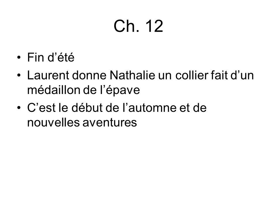 Ch. 12 Fin dété Laurent donne Nathalie un collier fait dun médaillon de lépave Cest le début de lautomne et de nouvelles aventures