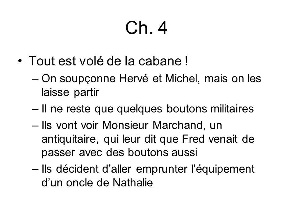 Ch. 4 Tout est volé de la cabane ! –On soupçonne Hervé et Michel, mais on les laisse partir –Il ne reste que quelques boutons militaires –Ils vont voi