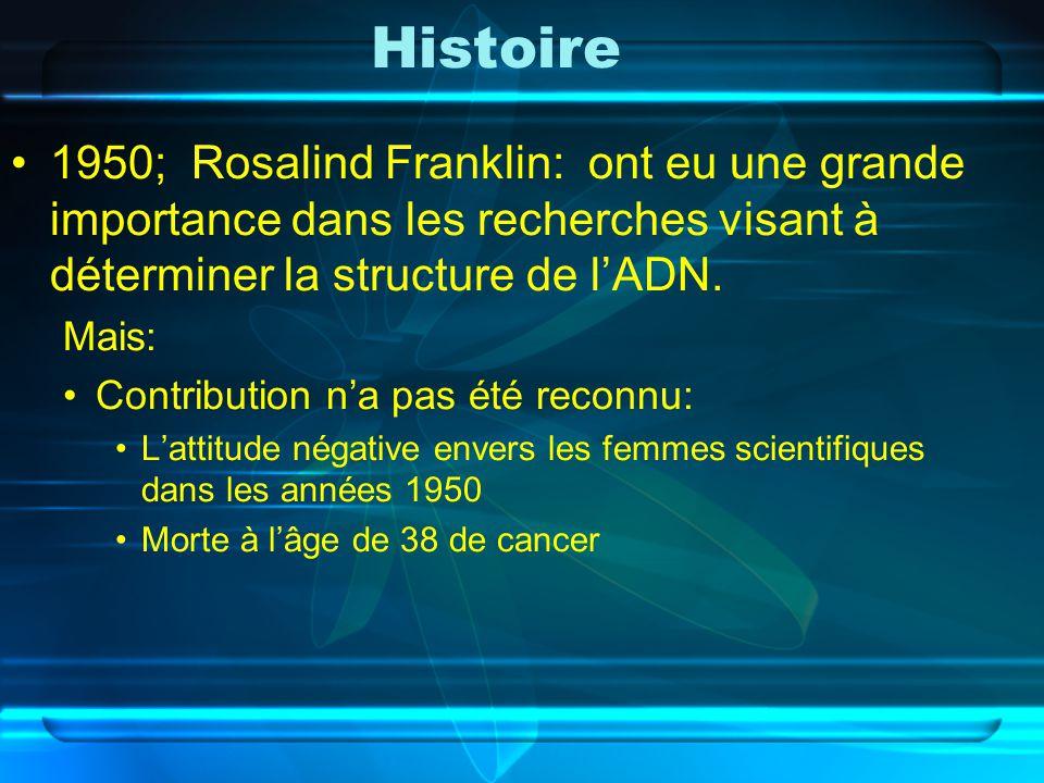 Histoire 1950; Rosalind Franklin: ont eu une grande importance dans les recherches visant à déterminer la structure de lADN. Mais: Contribution na pas