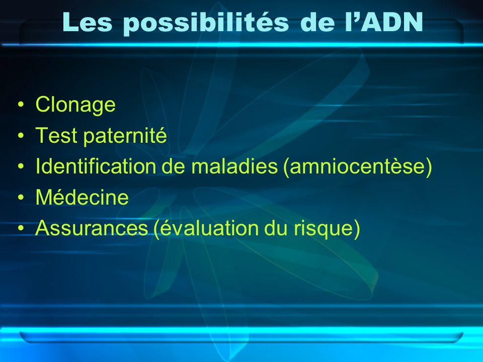 Les possibilités de lADN Clonage Test paternité Identification de maladies (amniocentèse) Médecine Assurances (évaluation du risque)