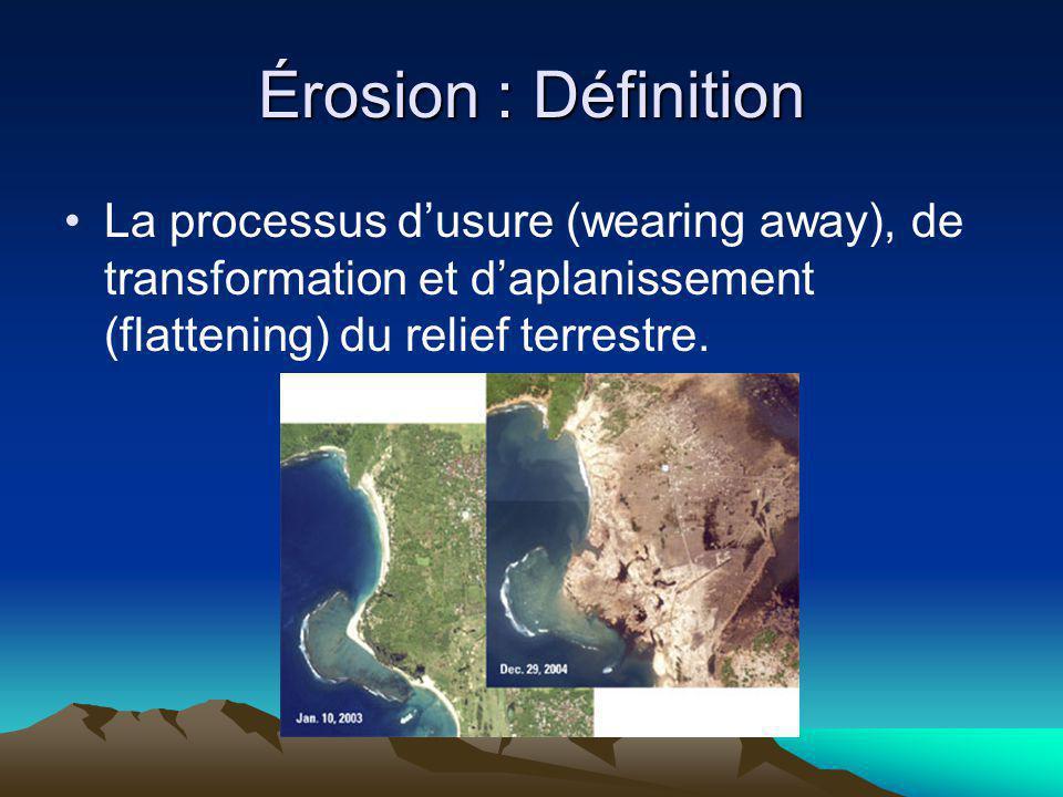Érosion : Définition La processus dusure (wearing away), de transformation et daplanissement (flattening) du relief terrestre.
