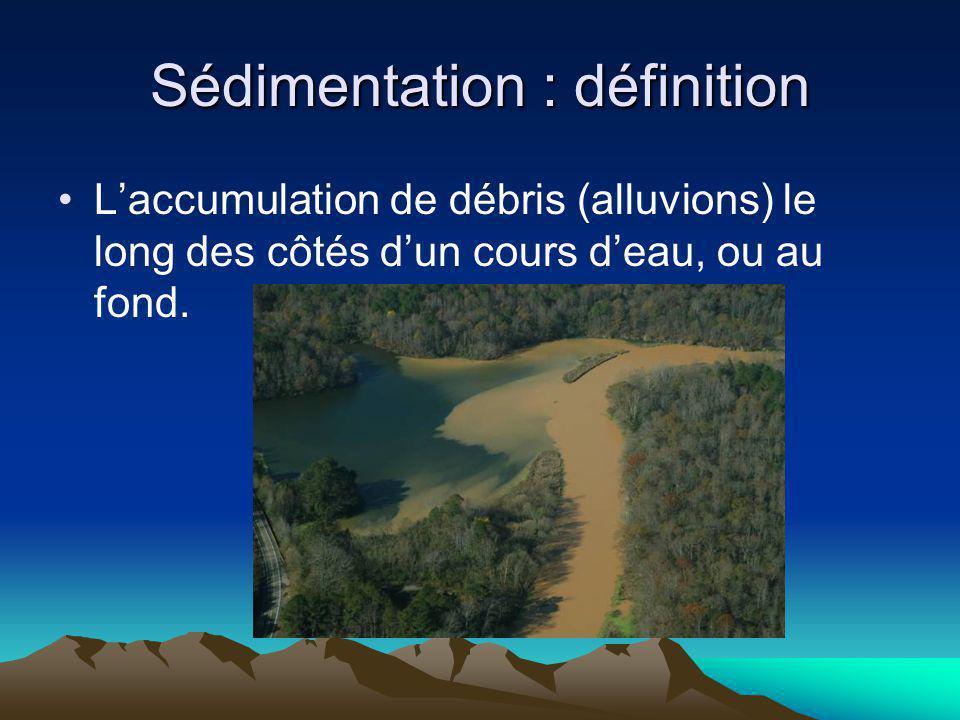 Le sédimentation crée de nouveaux reliefs: Quand les eaux ralentissent (slow down), les alluvions sont déposés sur les côtés de leau en couches successive (layers); les plus petites sur les plus grosses ou les plus légères sur les plus lourdes.