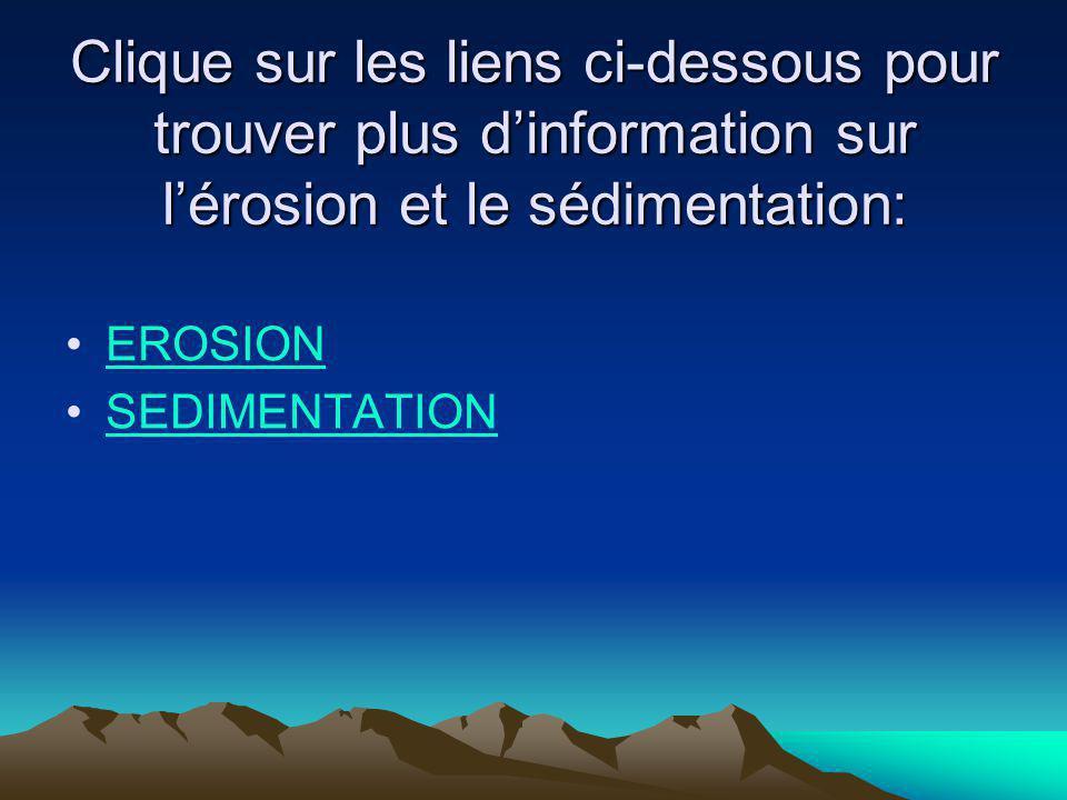 Clique sur les liens ci-dessous pour trouver plus dinformation sur lérosion et le sédimentation: EROSION SEDIMENTATION