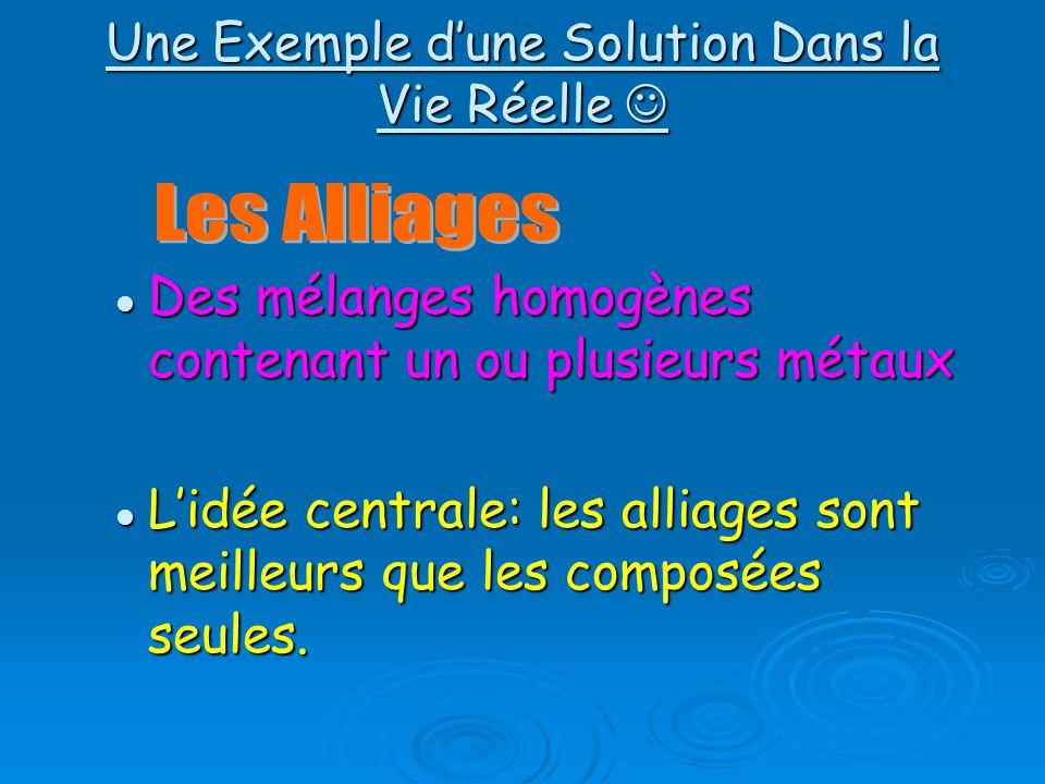 Une Exemple dune Solution Dans la Vie Réelle Une Exemple dune Solution Dans la Vie Réelle Des mélanges homogènes contenant un ou plusieurs métaux Des mélanges homogènes contenant un ou plusieurs métaux Lidée centrale: les alliages sont meilleurs que les composées seules.