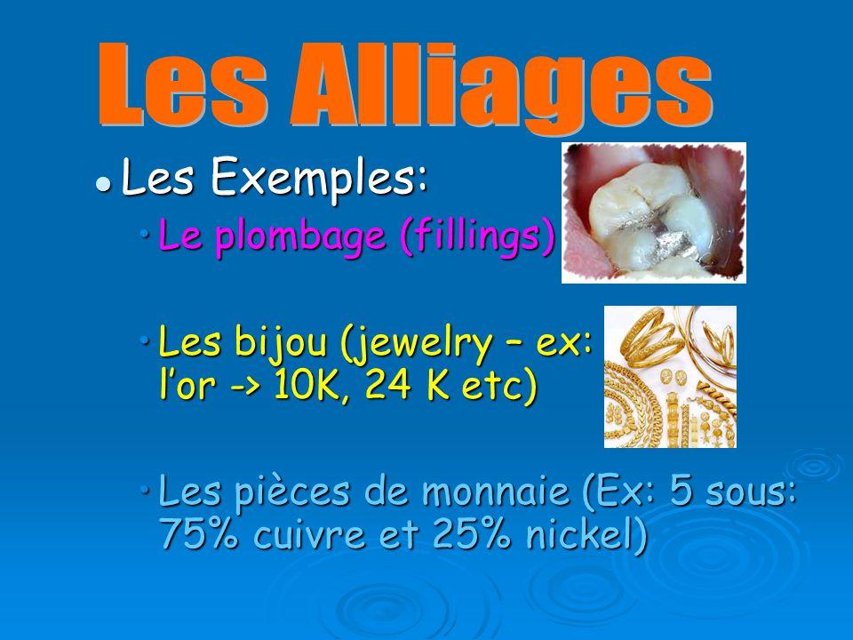 Les Exemples: Les Exemples: Le plombage (fillings)Le plombage (fillings) Les bijou (jewelry – ex: lor -> 10K, 24 K etc)Les bijou (jewelry – ex: lor -> 10K, 24 K etc) Les pièces de monnaie (Ex: 5 sous: 75% cuivre et 25% nickel)Les pièces de monnaie (Ex: 5 sous: 75% cuivre et 25% nickel)