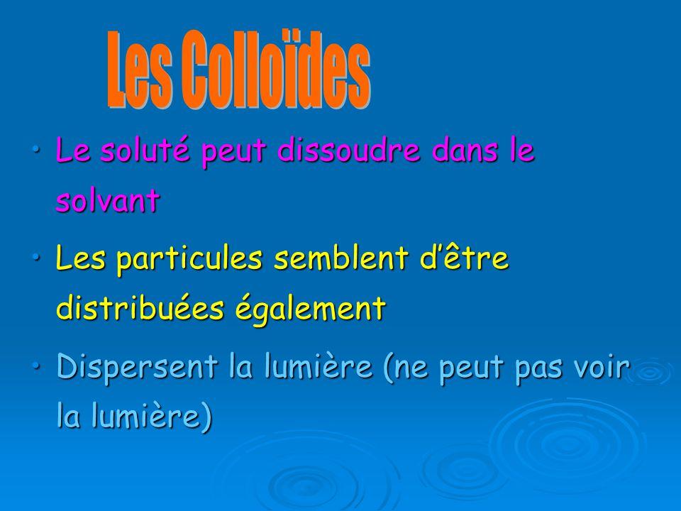 Le soluté peut dissoudre dans le solvantLe soluté peut dissoudre dans le solvant Les particules semblent dêtre distribuées égalementLes particules semblent dêtre distribuées également Dispersent la lumière (ne peut pas voir la lumière)Dispersent la lumière (ne peut pas voir la lumière)