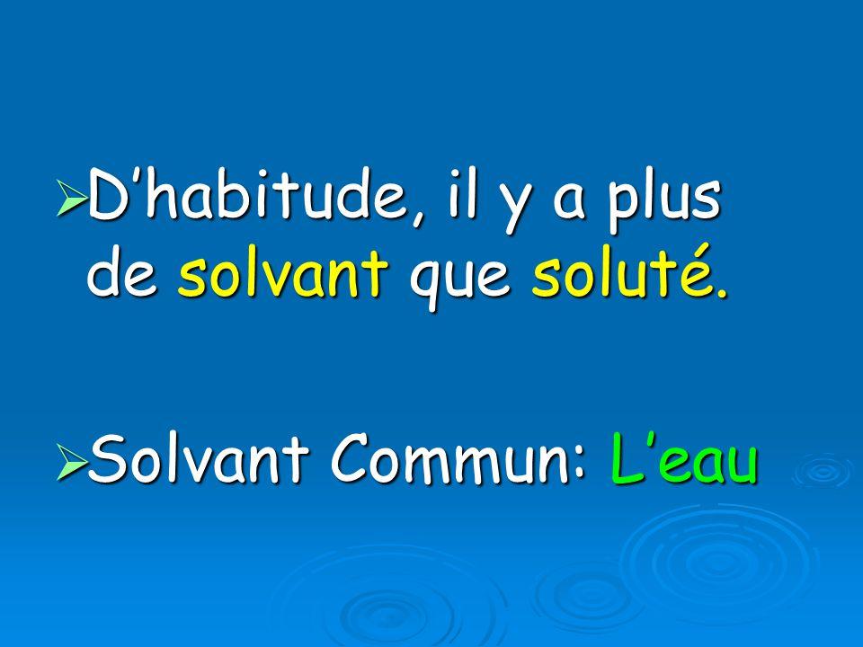 Dhabitude, il y a plus de solvant que soluté.Dhabitude, il y a plus de solvant que soluté.