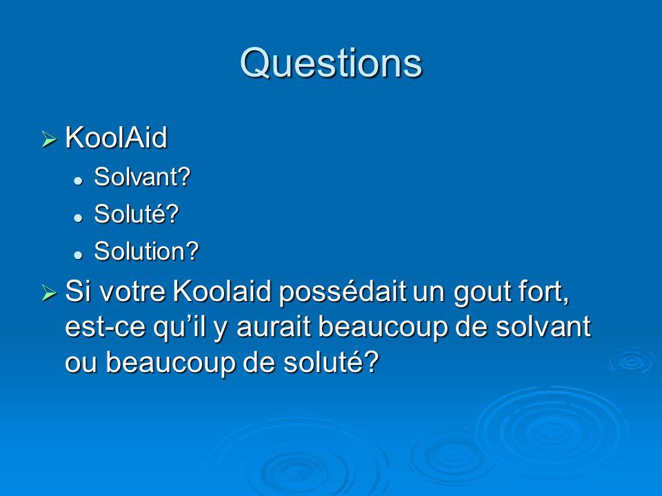 Questions KoolAid KoolAid Solvant.Solvant. Soluté.