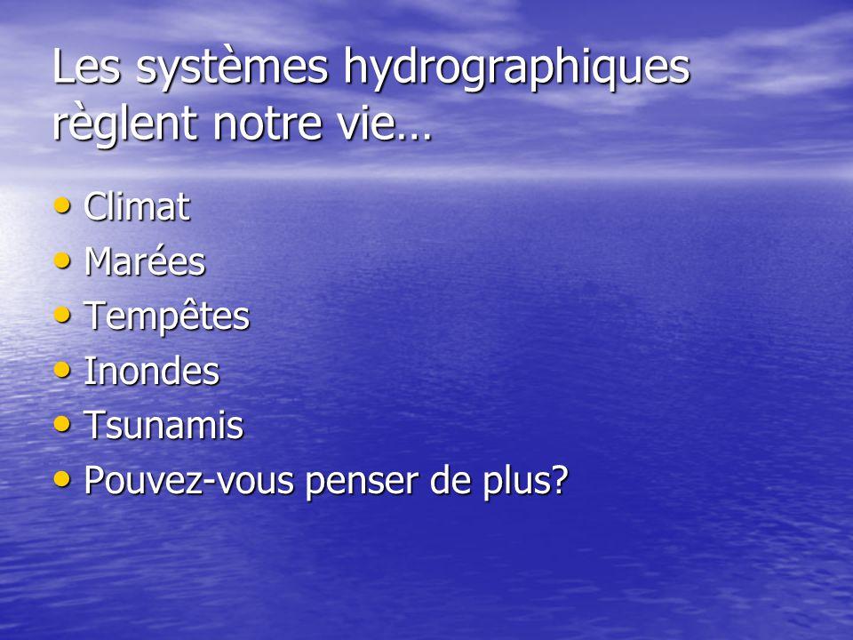 Les systèmes hydrographiques règlent notre vie… Climat Climat Marées Marées Tempêtes Tempêtes Inondes Inondes Tsunamis Tsunamis Pouvez-vous penser de plus.