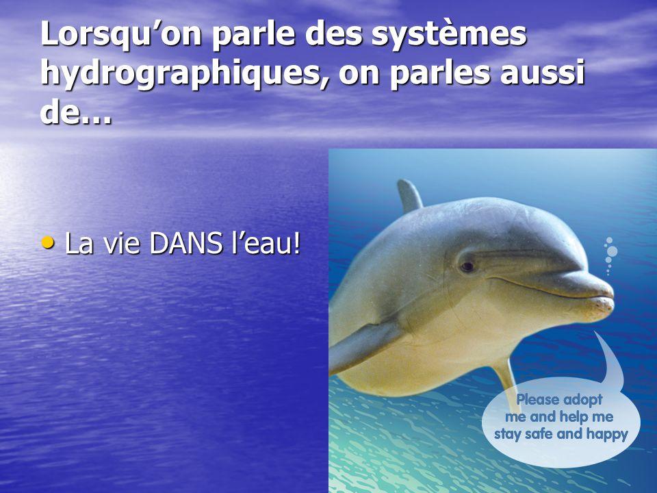Lorsquon parle des systèmes hydrographiques, on parles aussi de… La vie DANS leau.
