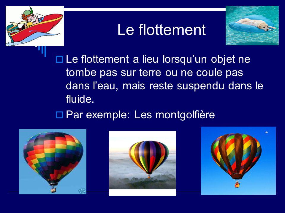 Le flottement Le flottement a lieu lorsquun objet ne tombe pas sur terre ou ne coule pas dans leau, mais reste suspendu dans le fluide. Par exemple: L