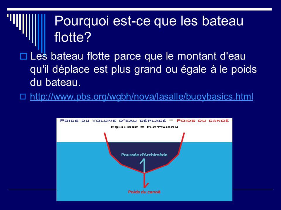 Pourquoi est-ce que les bateau flotte? Les bateau flotte parce que le montant d'eau qu'il déplace est plus grand ou égale à le poids du bateau. http:/