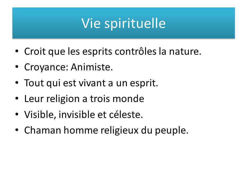 Vie spirituelle Croit que les esprits contrôles la nature. Croyance: Animiste. Tout qui est vivant a un esprit. Leur religion a trois monde Visible, i