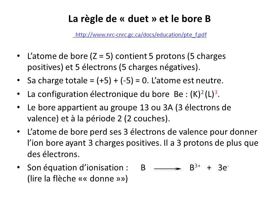 La règle de « duet » et le bore B http://www.nrc-cnrc.gc.ca/docs/education/pte_f.pdf http://www.nrc-cnrc.gc.ca/docs/education/pte_f.pdf Latome de bore