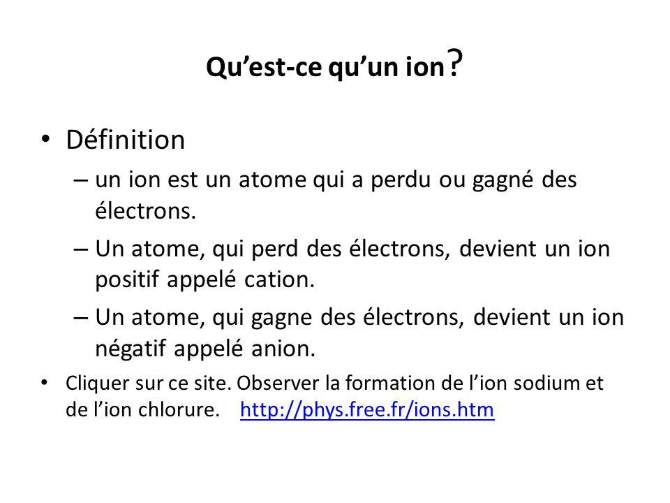 Quest-ce quun ion ? Définition – un ion est un atome qui a perdu ou gagné des électrons. – Un atome, qui perd des électrons, devient un ion positif ap