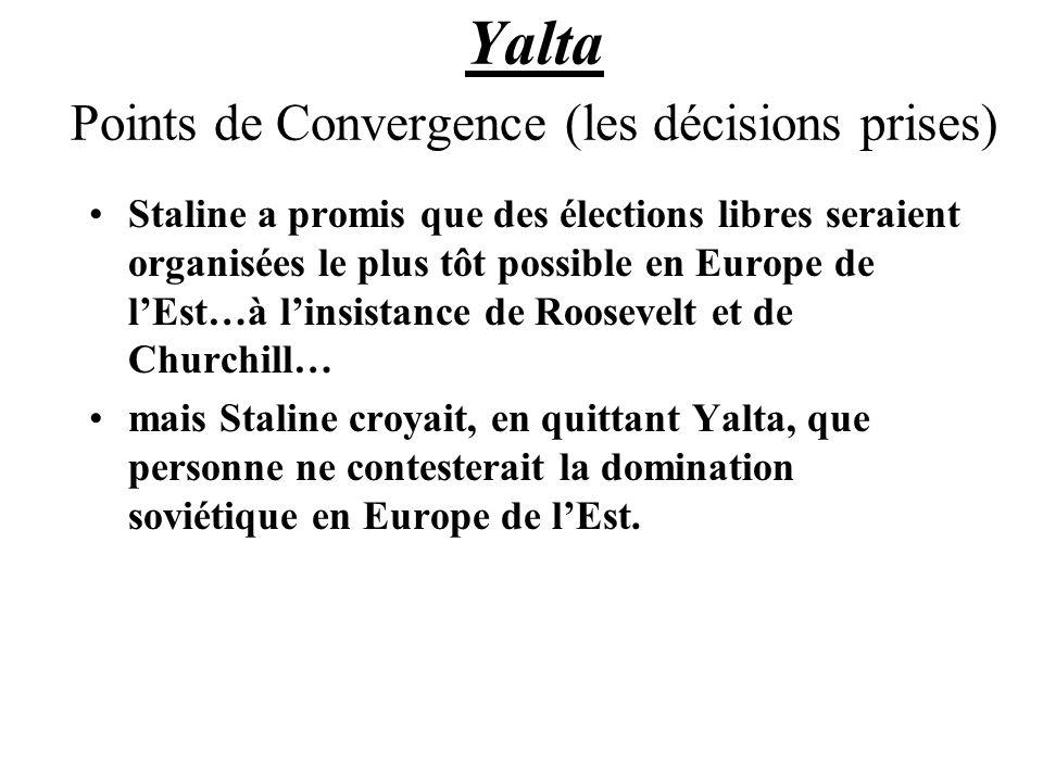 Yalta Points de Convergence (les décisions prises) Staline a promis que des élections libres seraient organisées le plus tôt possible en Europe de lEst…à linsistance de Roosevelt et de Churchill… mais Staline croyait, en quittant Yalta, que personne ne contesterait la domination soviétique en Europe de lEst.