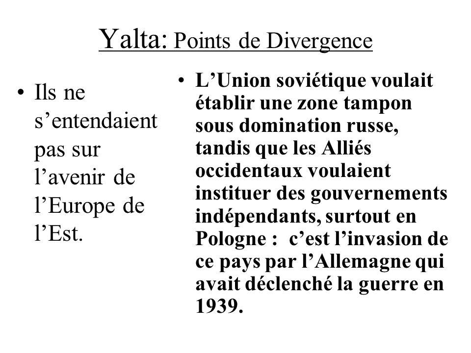 Yalta: Points de Divergence Ils ne sentendaient pas sur lavenir de lEurope de lEst. LUnion soviétique voulait établir une zone tampon sous domination