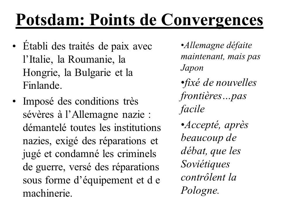 Potsdam: Points de Convergences Établi des traités de paix avec lItalie, la Roumanie, la Hongrie, la Bulgarie et la Finlande. Imposé des conditions tr