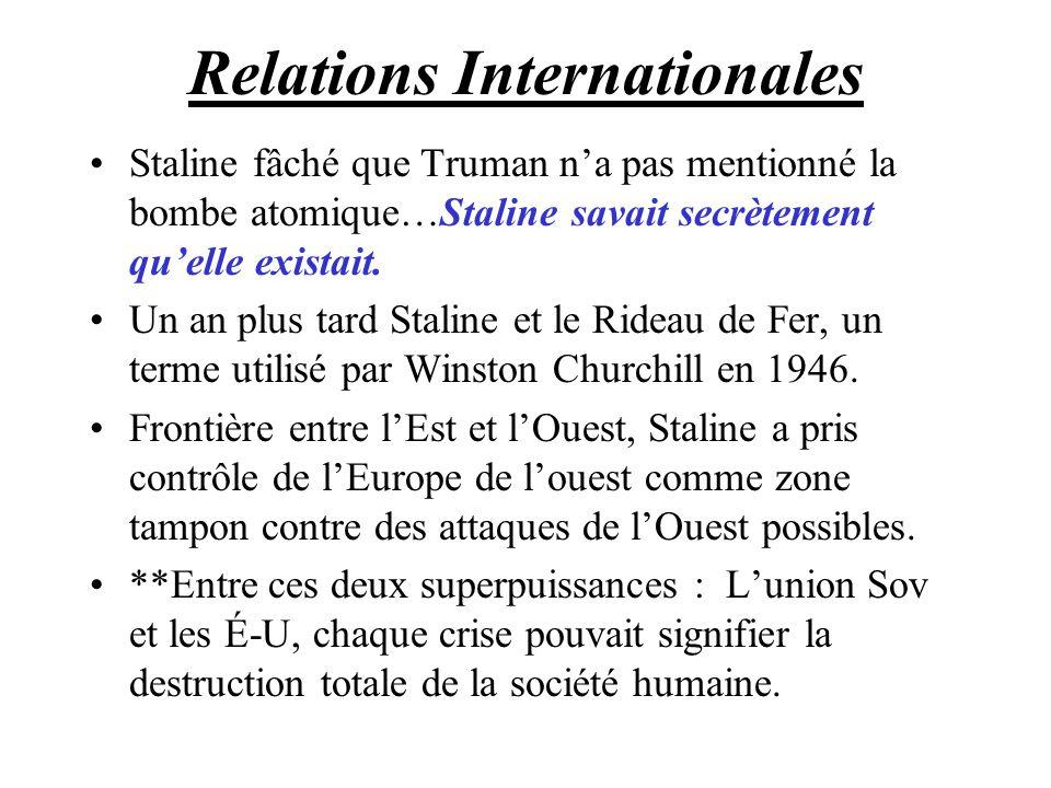 Relations Internationales Staline fâché que Truman na pas mentionné la bombe atomique…Staline savait secrètement quelle existait. Un an plus tard Stal