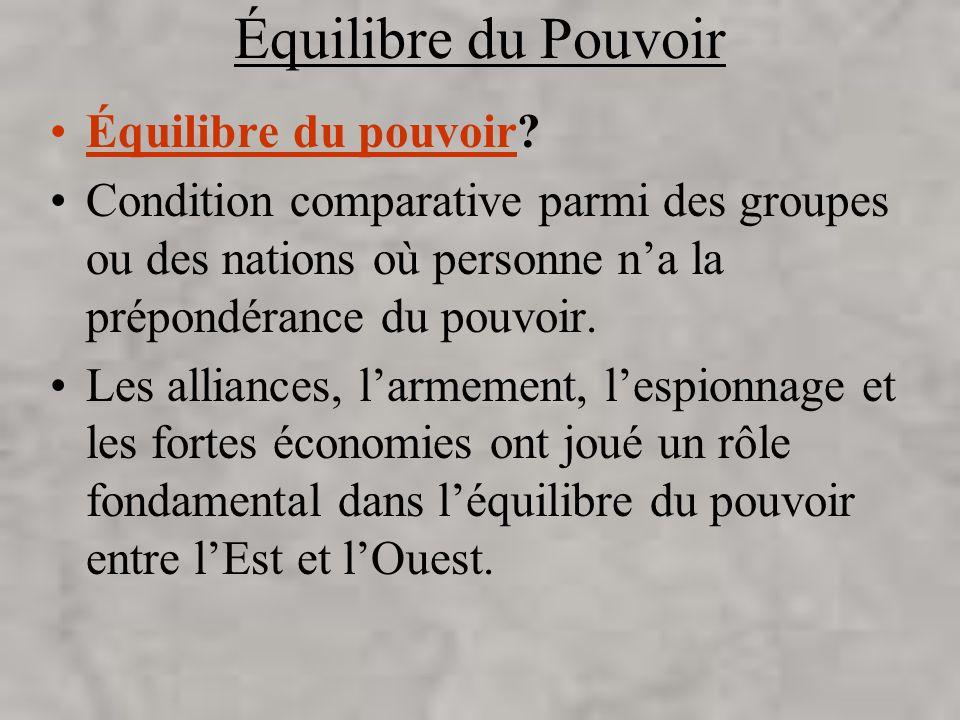 Équilibre du Pouvoir Équilibre du pouvoir? Condition comparative parmi des groupes ou des nations où personne na la prépondérance du pouvoir. Les alli