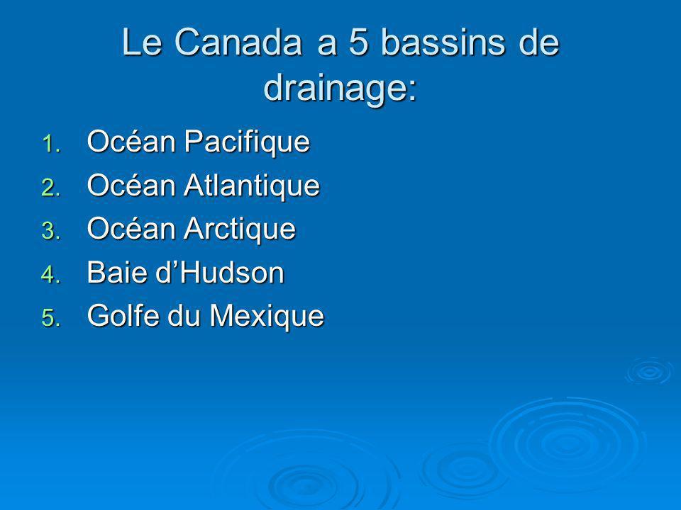 Le Canada a 5 bassins de drainage: 1. Océan Pacifique 2. Océan Atlantique 3. Océan Arctique 4. Baie dHudson 5. Golfe du Mexique